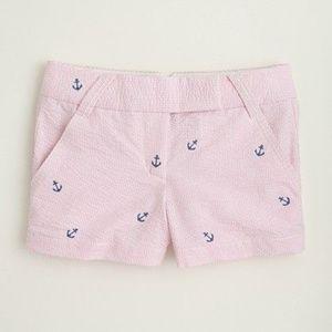 J. CREW Embroidered Seersucker Shorts Anchors R21